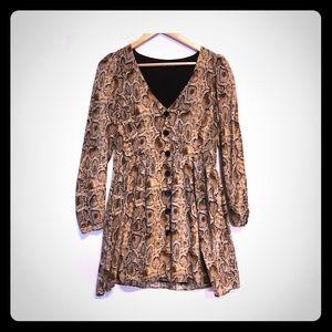 snake v neck button dress Zara